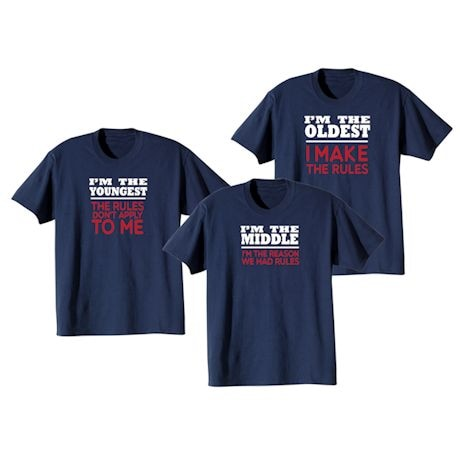 Rules Oldest, Middle, Youngest T-shirt Set