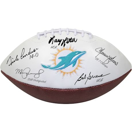 1972 Dolphins 5 Signature White Panel Football (signed and Inscribe by Griese/Fernandez/Morris/Little/Anderson)