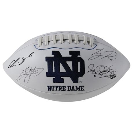 1988 Notre Dame 6 Signature Notre Dame White Panel Football (Signed  by Lou Holtz/Ricky Watters/Rocket Ismail/Tony Rice/