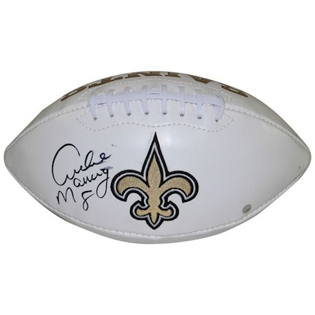 Archie Manning Signed New Orleans Saints White Panel Football (Imperfect)