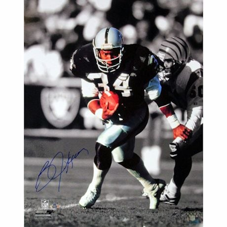 Bo Jackson Raiders Signed 16x20 Photo (Signed in Blue)