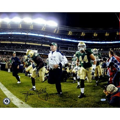 Brian Kelly Notre Dame Running On To The Field Horizontal 16x20 Photo