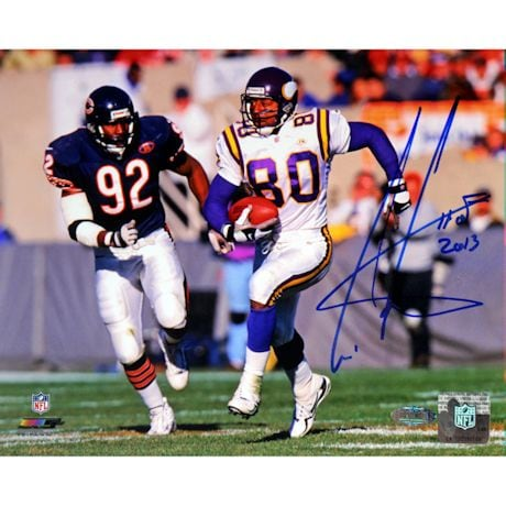 Cris Carter Signed Running vs Bears Defender 16x20 Photo w/ HOF Insc.