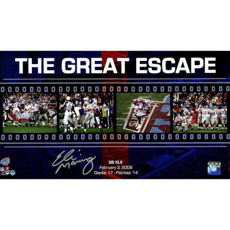 "Eli Manning Signed Giants ""The Great Escape"" Filmstrip 10x17 Collage"