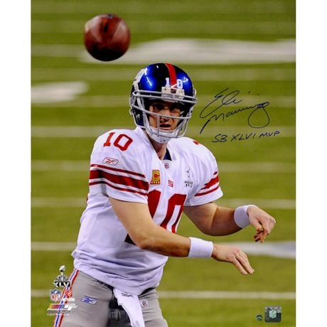 "Eli Manning Signed Super Bowl XLVI Throwing 16x20 Photo w/ ""SB XLVI MVP"" Insc"