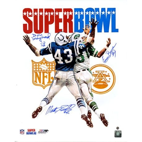 Emerson Boozer, Matt Snell & Don Maynard Triple Signed Super Bowl III Program 16x20 Photo