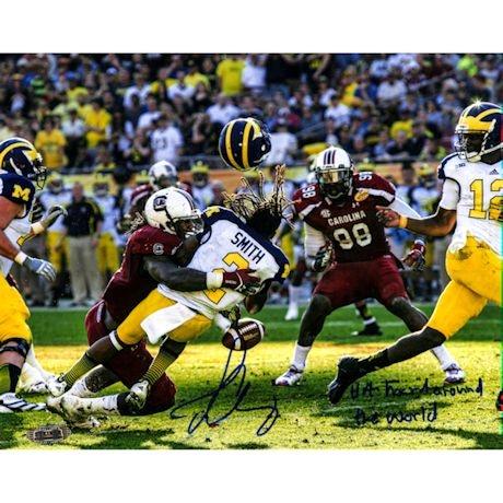 "Jadeveon Clowney Hit vs. Michigan Signed 16x20 Photo w/ ""The Hit Heard Round The World"" Insc."