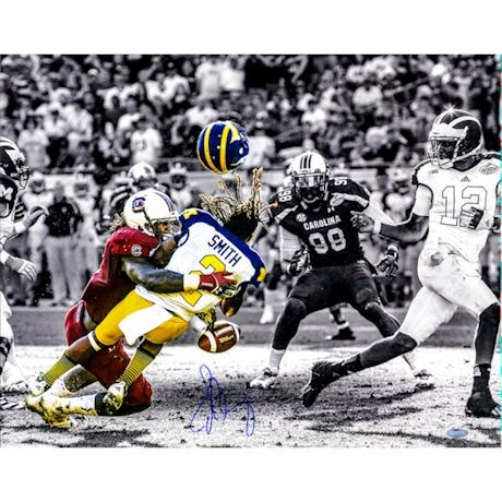 Jadeveon Clowney Hit vs. Michigan Signed BW 16x20 Photo w/ Color Accents