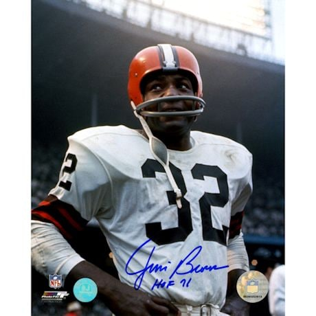 Jim Brown Cleveland Browns Signed Rookie Close-Up 8x10 Photo w/ HOF 71 Insc (AJ Sports Auth)