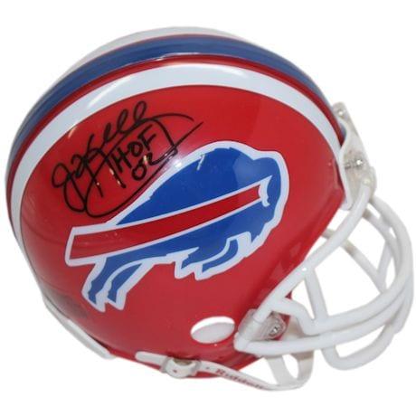 "Jim Kelly Buffalo Bills Red Mini Helmet w/ ""HOF"" Insc."