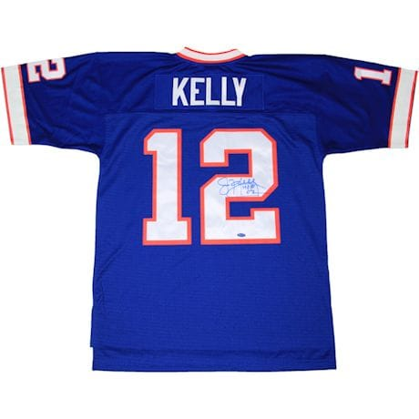 "Jim Kelly Signed Blue Buffalo Bills 1990  Throwback Jersey w/ ""HOF 02"" insc (Signed in Blue)"