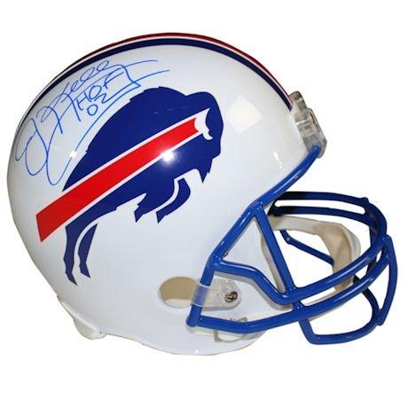 """Jim Kelly Signed Buffalo Bills White Replica Helmet w/ """"HOF"""" Insc."""