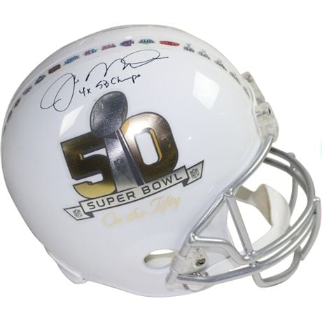 "Joe Montana Signed Replica SB50 ""On the 50"" Helmet w/ ""4x SB Champs"" Insc"