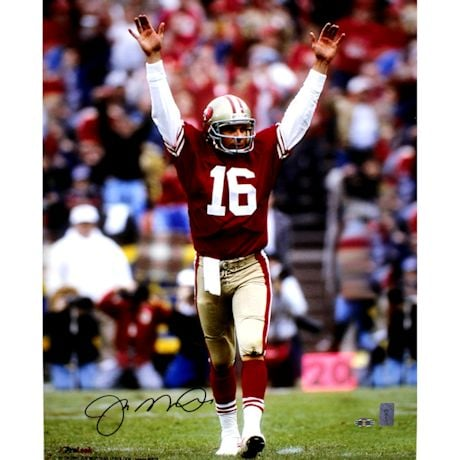 Joe Montana Touchdown Signal Signed 16x20 Photo Signed In Black