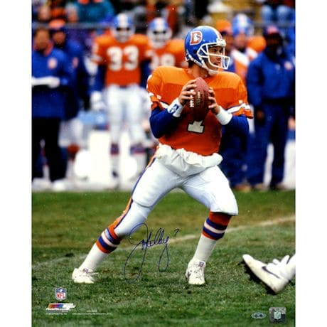 John Elway Signed vertical in pocket old uniform 16x20 Photo