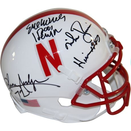 Johnny Rodgers, Mike Rozier & Eric Crouch Triple Signed Nebraska Cornhuskers Schutt Mini Helmet w/ Heisman Years Insc.