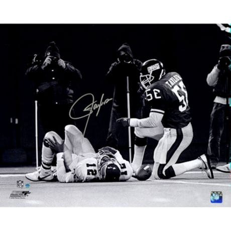 Lawrence Taylor Sack over Randall Cunningham Horizontal B&W 16x20 Photo