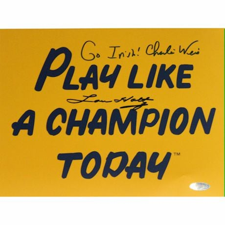 "Lou Holtz / Charlie Weis Dual Signed Play Like A Champion Today 8x10 Photo w/ ""Go Irish"" Insc. by Weis"