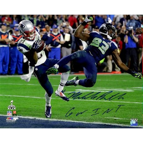 "Malcolm Butler Signed Superbowl 49 INT 16x20 Photo w/ ""GW INT"" Insc"