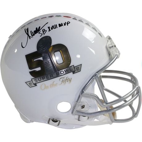 "Marcus Allen Signed Riddell Superbowl on the 50 White Authentic Helmet w/ ""SB XVIII MVP"" Insc (Signed in Black)"