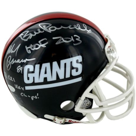 Mark Bavaro/Bill Parcells Dual Signed and Inscribed Throwback Giants Mini Helmet w/ Parcells HOF Insc, Bavaro S.B Insc.
