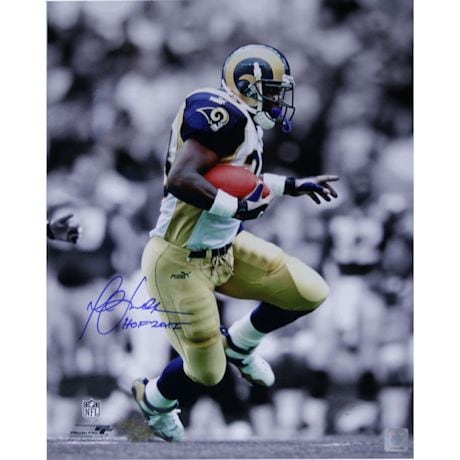 "Marshall Faulk Rams Rushing Black/White Background Vertical 16x20 Photo w/ ""HOF 20XI"" Insc."