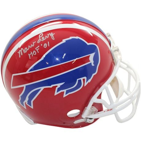 Marv Levy Signed Replica Red Bills Helmet w/ HOF insc