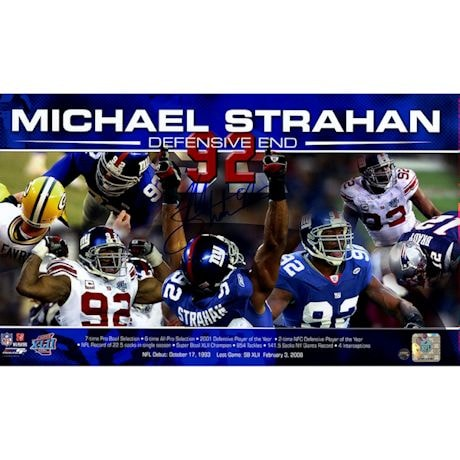 """Michael Strahan Signed """"Defensive End"""" Collage 10x17 Photo"""