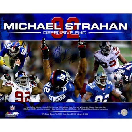 Michael Strahan Signed Career Accomplishments 16x20 Photo