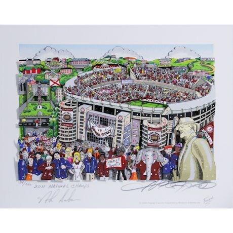 "Nick Saban Signed Alabama Pop Art by Charles Fazzino w/ ""2011 National Champs"" Insc. (14 National Titles)(L/E 200)"