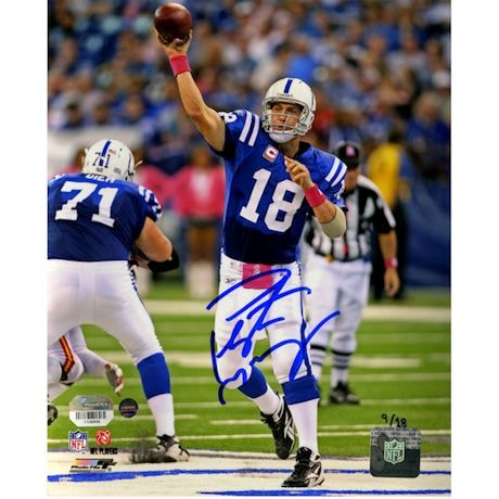 Peyton Manning Signed Metallic Indianapolis Colts 8x10 BCA Action Photo (LE/18)