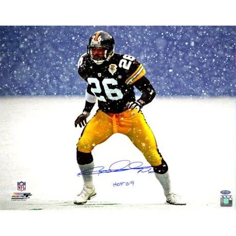 """Rod Woodson Steelers Snow 16x20 Photo w/ HOF 09""""Insc."""