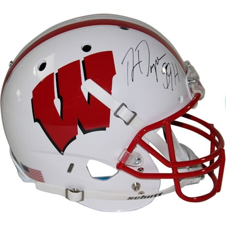 "Ron Dayne Signed Wisconsin Badgers Full Size Replica Schutt Helmet / ""99 H.T"" Insc."