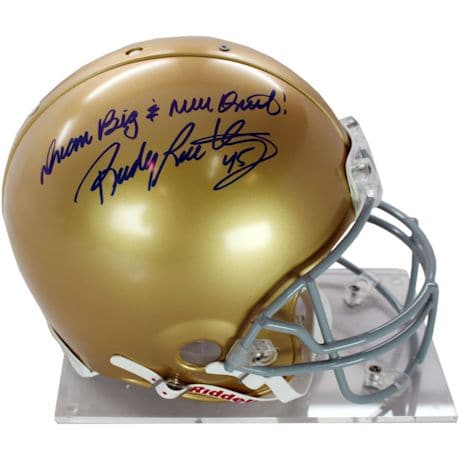 "Rudy Ruettiger Signed Authentic Notre Dame Full Size Helmet w/ ""Dream Big and Never Quit"" insc"