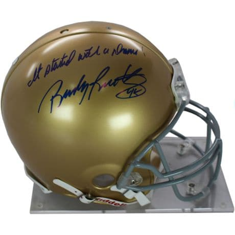 "Rudy Ruettiger Signed Authentic Notre Dame Full Size Helmet w/ ""It Started With a Dream"" insc"