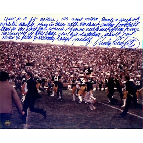 Rudy Ruettiger Signed Carried Off the Field 8x10 Photo w/ '5 Foot Nothing' Quote