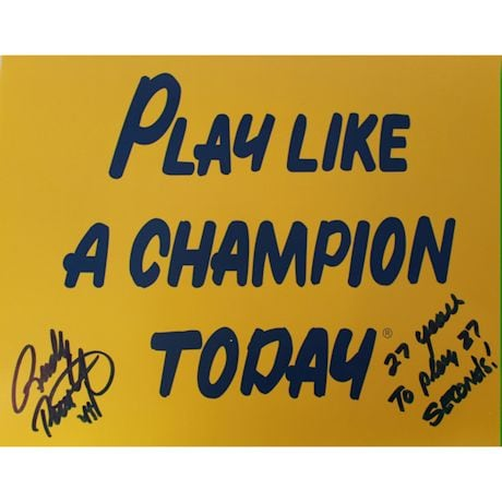 "Rudy Ruettiger Signed Play Like a Champion Today 8x10 Photo w/ ""27 Years To Play 27 Seconds"" insc"