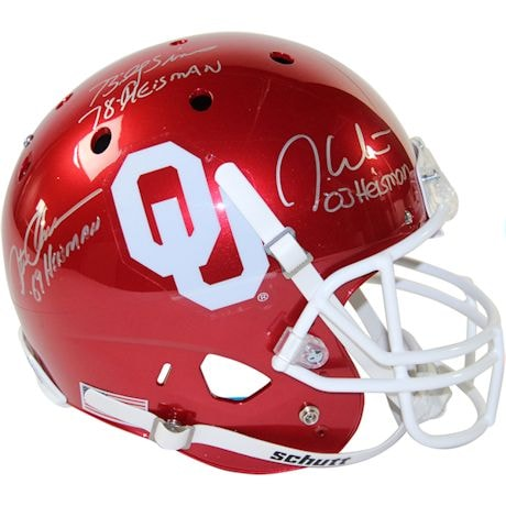 Steve Owens, Billy Sims & Jason White Triple Signed Oklahoma Sooners Full Size Replica Schutt Helmet w/ Heisman Years In