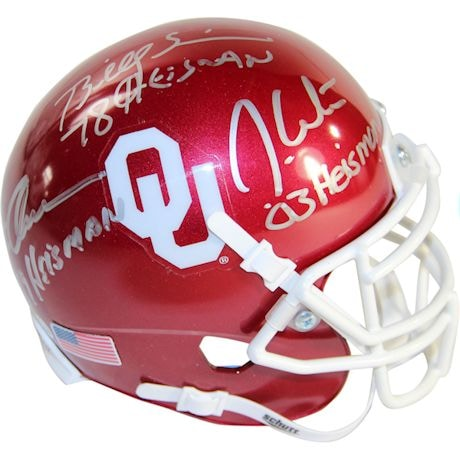Steve Owens, Billy Sims & Jason White Triple Signed OKlahoma Sooners Schutt Mini Helmet w/ Heisman Years Insc.
