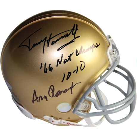 "Terry Hanratty/Ara Parseghian Dual Signed Notre Dame Mini Helmet w/ ""66  Natl Champs 10-10 ""Insc. by Terry Hanratty"