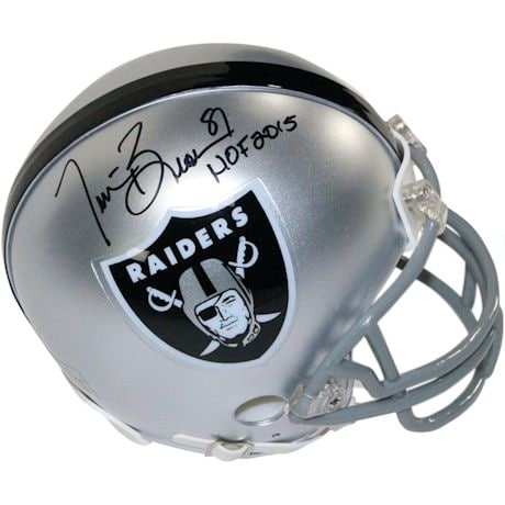 "Tim Brown Signed Oakland Raiders Mini Helmet w/ ""HOF 2015"" Insc."