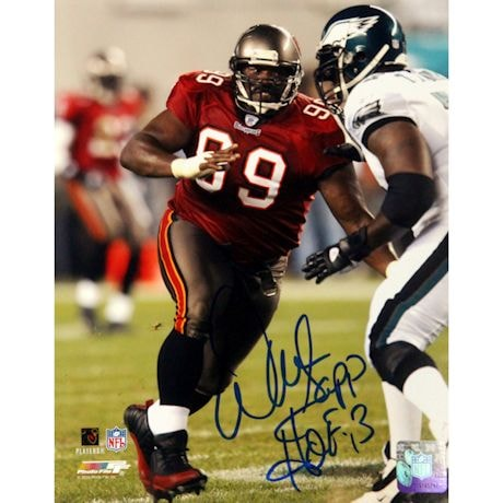 "Warren Sapp Tampa Bay Buccaneers Signed 8x10 Photo Inscribed ""HOF 13"""