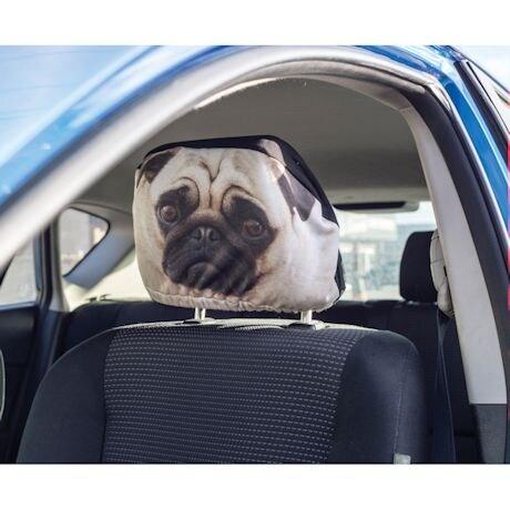 Pet Headrest Covers - Pug
