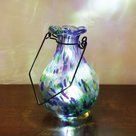 Solar Glass Vase - Saturn Blue