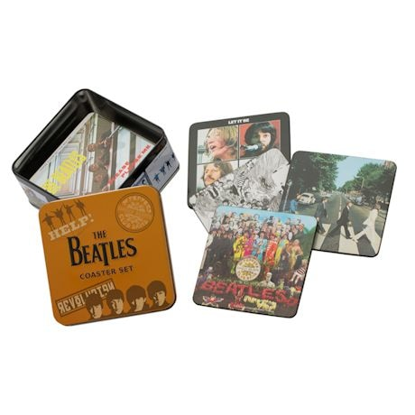 The Beatles Album Covers Coasters in Tin