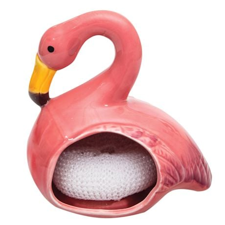 Flamingo Scrubbie holder with Scrubbie