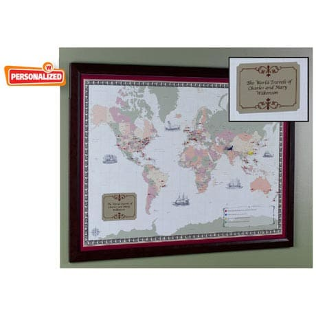 Unframed Personalized World Traveler Map