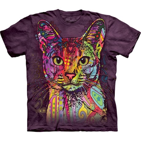 Colorful Cat Tie Dye T-Shirt 100% Cotton and Made in USA