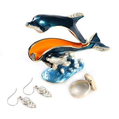 Crystal-Detailed Enamel Box -Dolphin