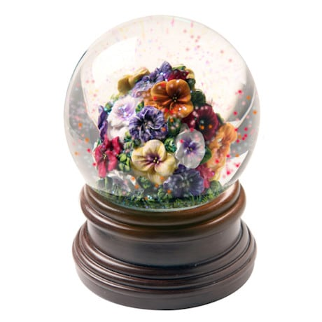 Pansies Musical Waterglobe Plays Vivaldi's La Primavera from Four Seasons
